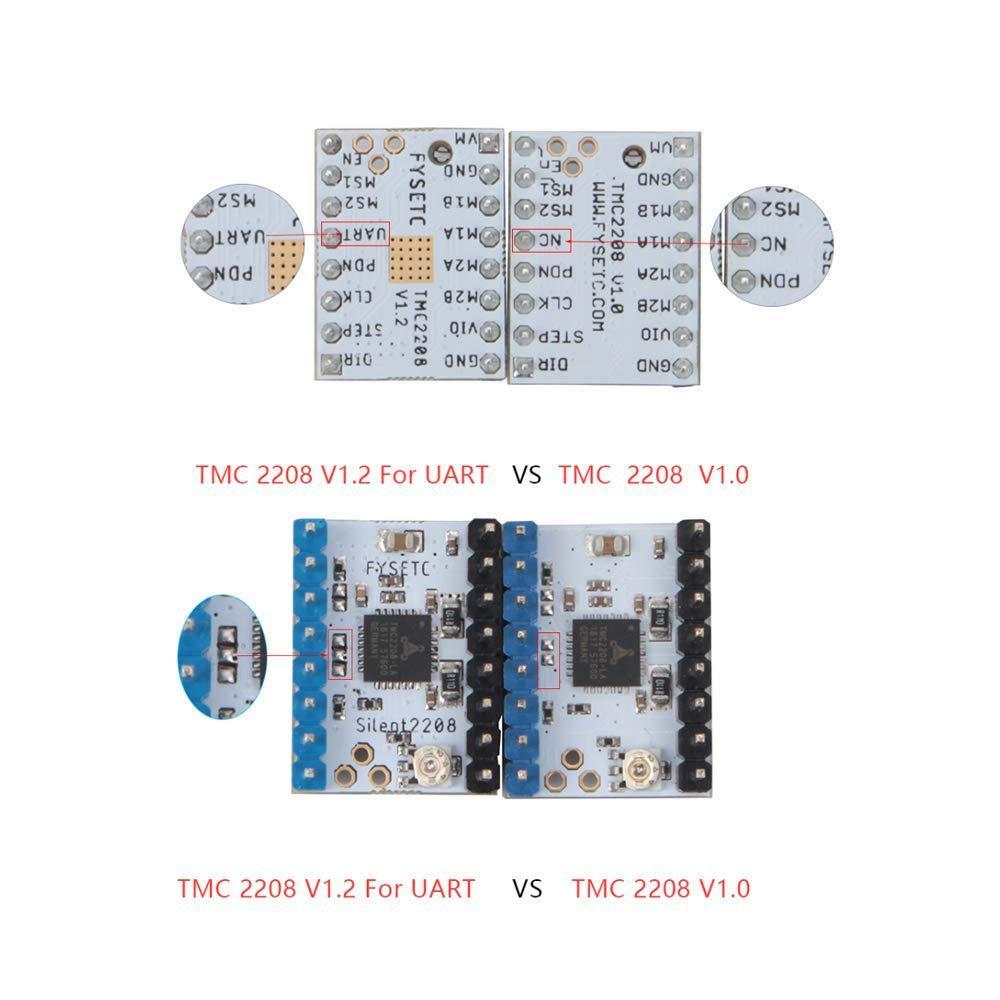 TMC2208 V1.2 Stepstick Stepper Motor Driver Module Carrier with Heat Sink for 3D Printer Controller Boards Ramps1.4 MKS Gen Ender-3 Pro SNOWINSPRING 5 Pcs 3D Printer Stepper Motor Driver