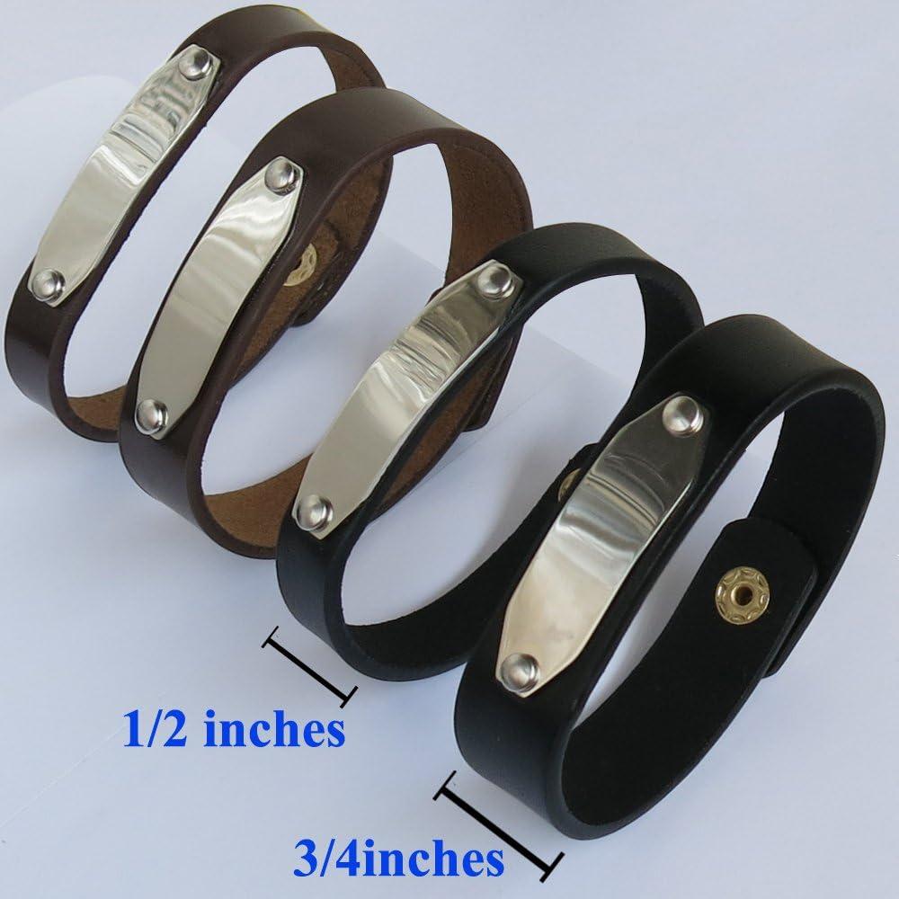 Latitude Longitude GPS Custom Coordinates Mens Womens Boy Girl Kids Children Solid Black Mens Leather Bracelet Cuff