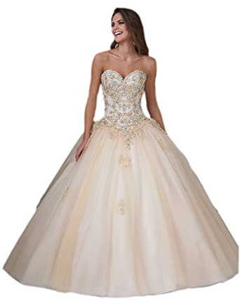 862464cbb60 Elley Women s 2015 Sweetheart Beading Backless Formal Prom Ball Gown  Quinceanera Dress Wedding Gown Champagne US2