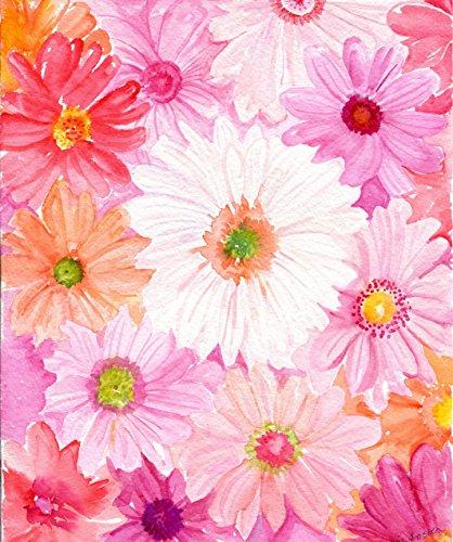 Gerbera Daisies Watercolor Painting PRINT of Pink, Coral, Cream Gerber Daisies watercolor flowers painting of daisy flowers 8 x 10 Colors Of Gerbera Daisies