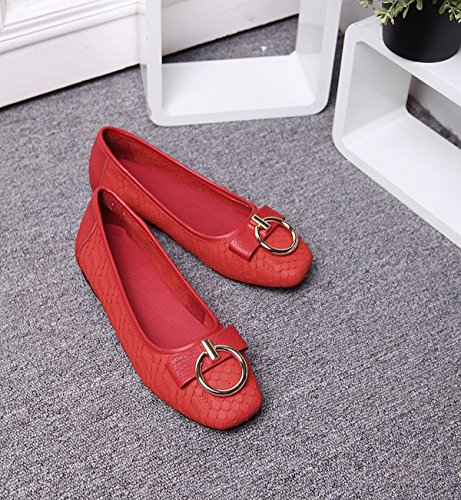 Miyoopark Spring Walking Flats Shoes Leisure Summer 0n Leather Red Knot Slip Casual YqOYrw