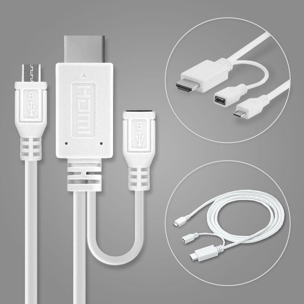 Cavo MHL Adattatore da Micro USB a HDMI 5 Pin + Adattatore da 11 Pin per Smartphone e Tablet da Huawei, Sony, Samsung, ZTE con Supporto MHL subtel