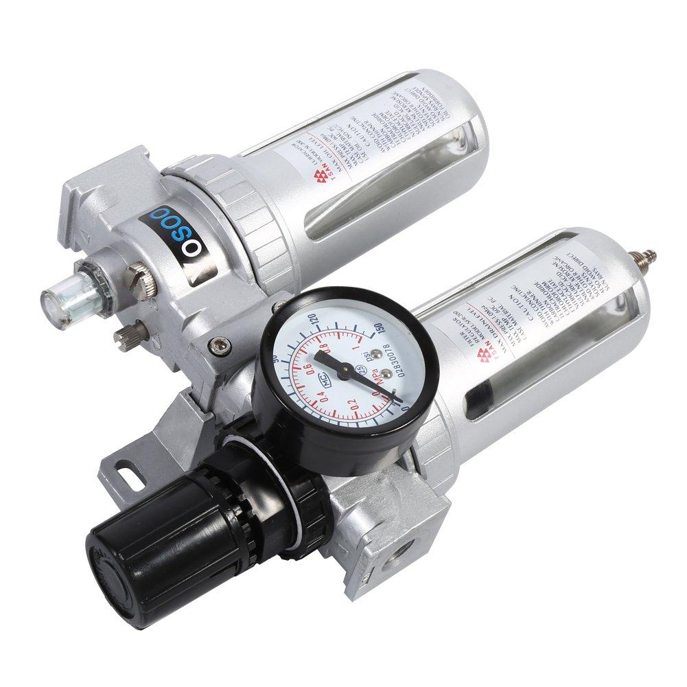 Filtro Regulador para aire comprimido, filtro separador de agua y aceite para compresor 1//4/pulgadas Unidad de Maintenace del aire comprimido regulador de presi/ón filtro de aire agua lubricante