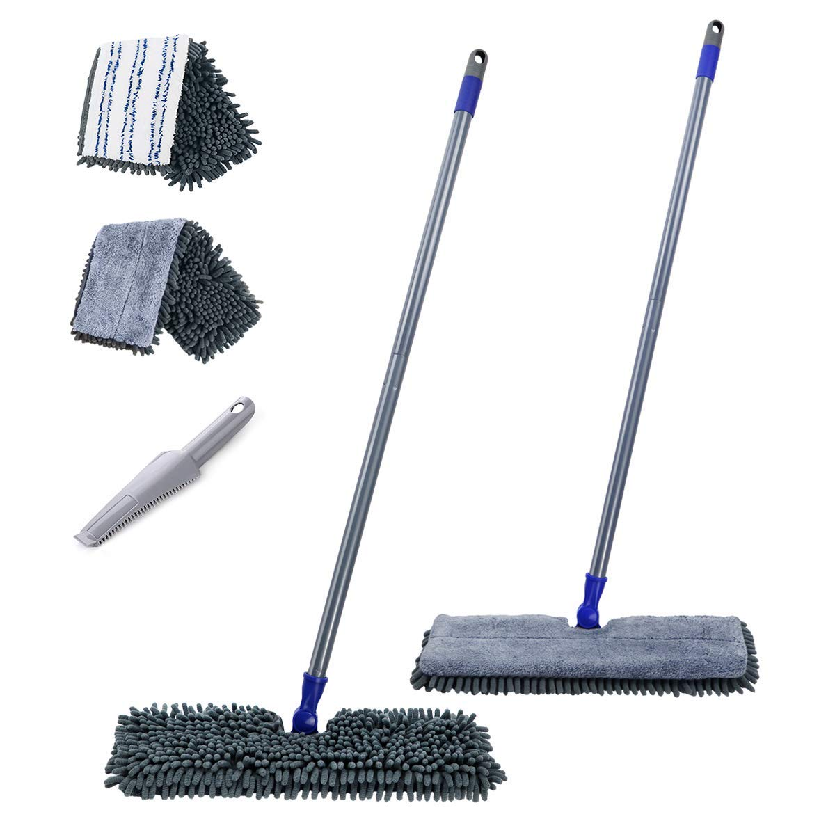 """Flat Mop with 2 Mop Pads Double Sided 16.8"""" Dust Mops for Hardwood Floors Microfiber Chenille Mop for Wet & Dry Use Masthome"""