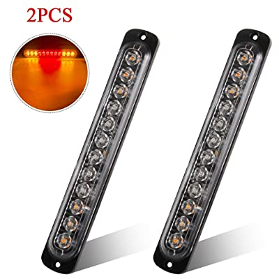 2pcs 12LED Amber and Red Led Light-Head Emergency Beacon Hazard Warning Light Flashing Strobe Light Bar Recovery Breakdown Surface Mount for Construction Vehicle Car Truck Trailer Caravan 12-24V: Automotive