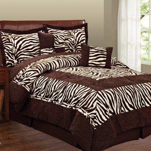 Fashion St. Micro Suede 6-Piece Comforter Set, Zebra, Queen