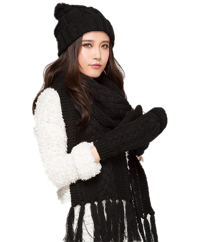 Frauen-Winter-Woolen Warme M¨¹tze / Schal / Handschuhe dreiteilige von Withered eingestellt