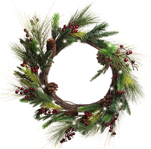 Christmas LED White Lights Decor Evergreen Artificial Wreath with Pinecones, Leaves & Berries - Winter Bouquet for Front Door, Wall Hallway & Entryway, Automatic Timer 6 & 18 Hours - - Christmas 22 Wreath Artificial