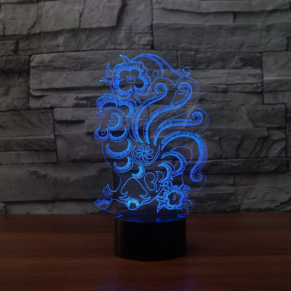Luz Noche Visual 3d Colores Phoenix De Mzdpp 7 Led v8O0wmNn