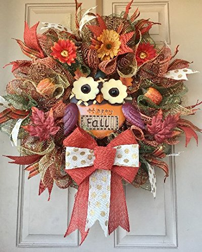 Owl Fall Wreath with Colorful Metal Owl, Pumpkins, Flowers and Leaves