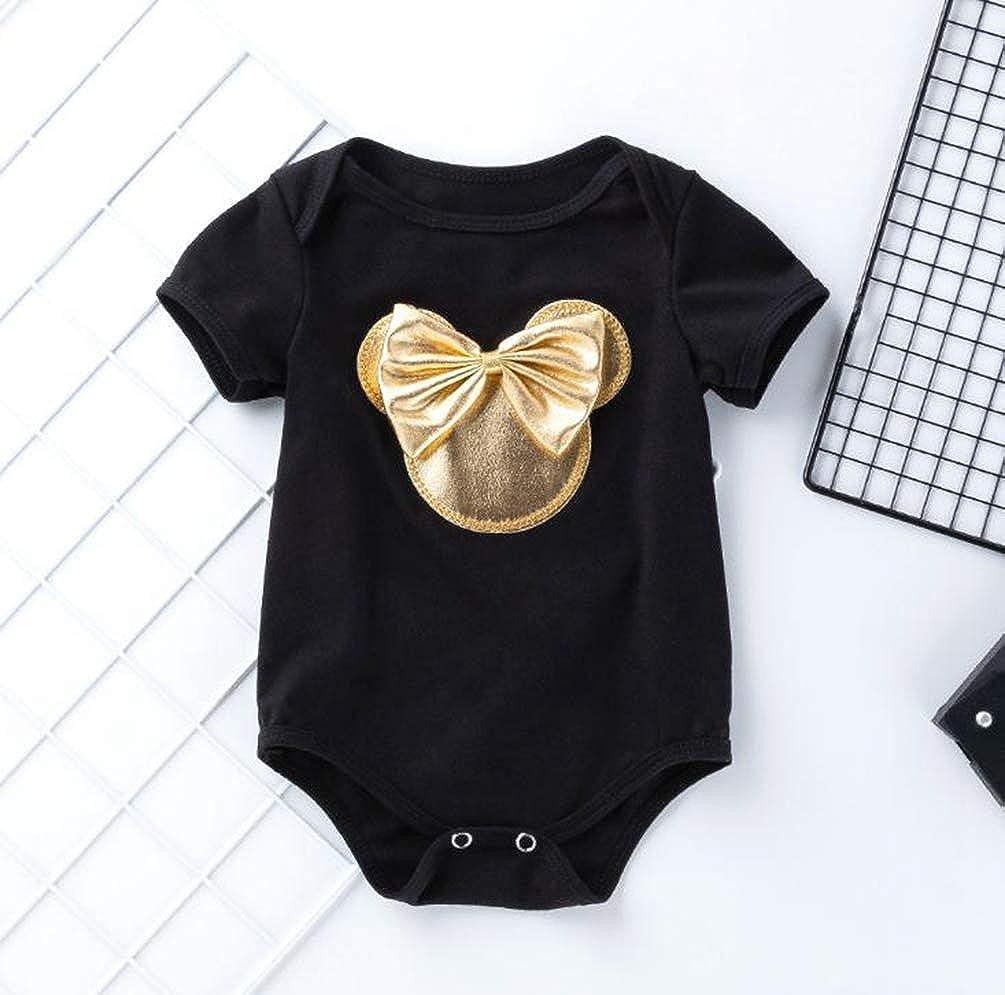 LvRao 4pcs Completi Abbigliamento per Bambina Body Pagliaccetto Manica Corta abbinando con Mutandine con Volant Scarpe Fascia