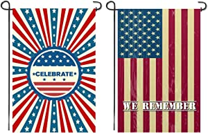 Shmbada Set of 2 American US 4th of July Garden Flag Double Sided Premium Fabric Patriotic Decorative Outdoor Yard Lawn Decor 12 X 18 Inch