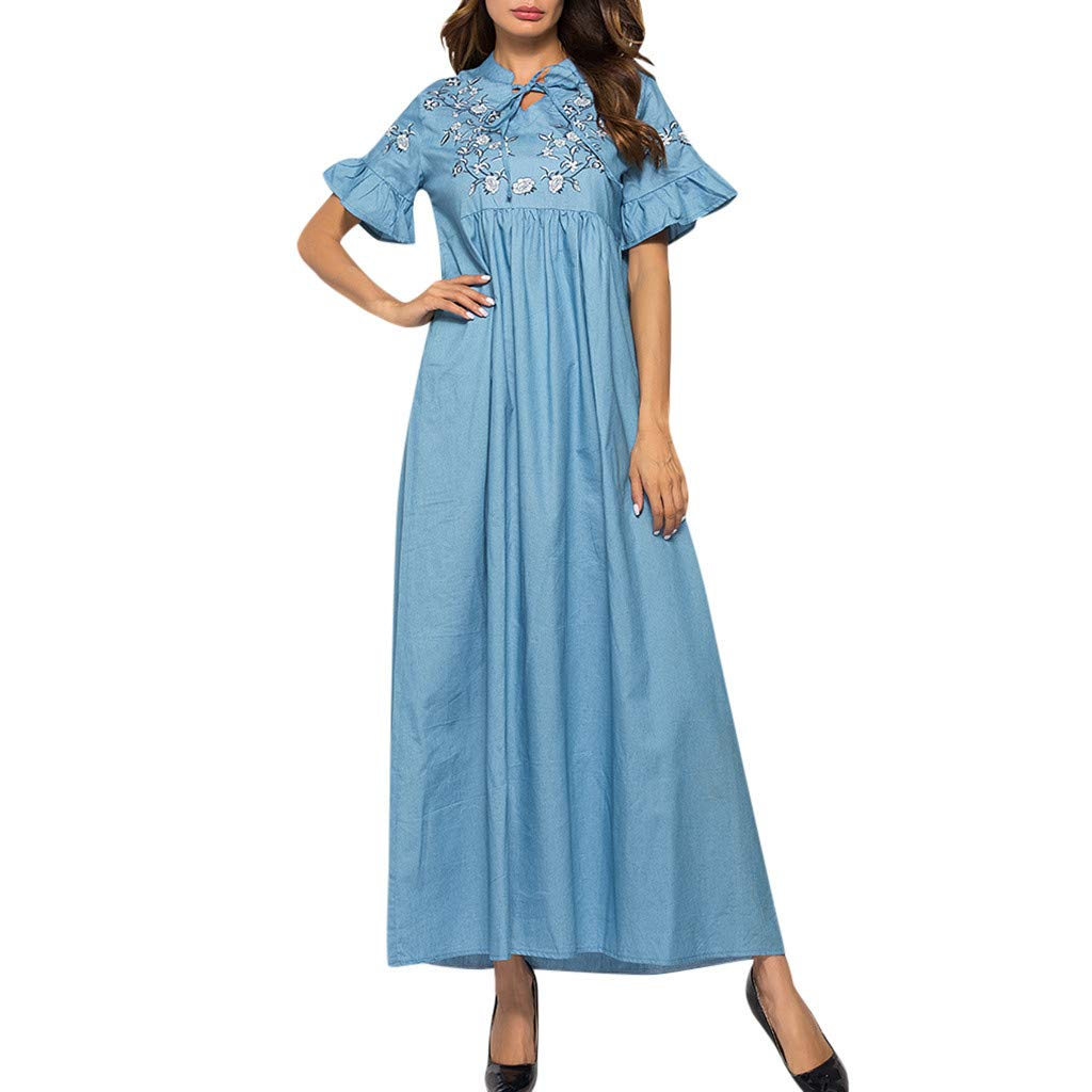Women's Vintage Embroidery Short Sleeve Ladies O-Neck Ankle-Length Dress Blue