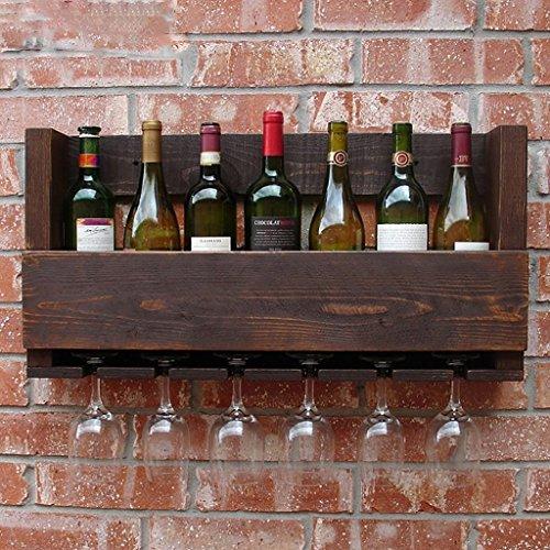 ZHAS Wine Racks Solid wood wine rack restaurant pine tall cup holder wall storage rack vintage wine rack bottle rack