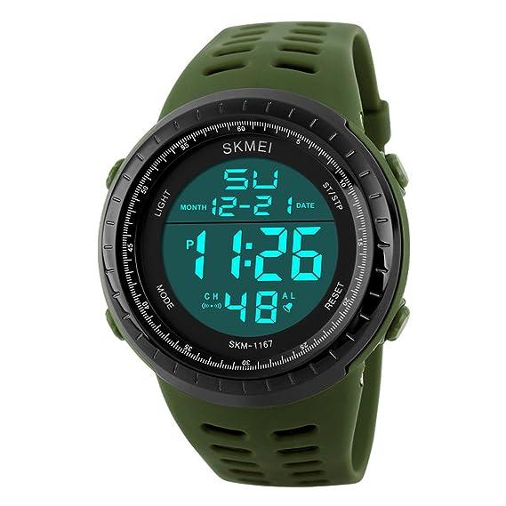 ec5dcfd2bef4 Sunjas Reloj Deportivo de Pulsera Resistente al Agua Digital LED Alarma  Calendario Reloj para Hombre Mujer- Color de Verde Militar  Amazon.es   Relojes