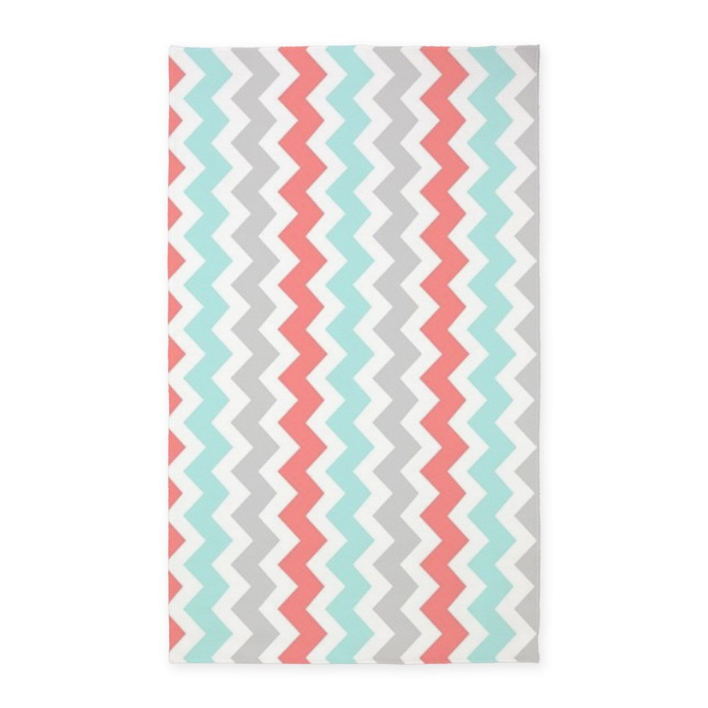 Amazon.com: CafePress   Coral Aqua Grey Chevron Pattern 3u0027x5u0027 Area Rug    Decorative Area Rug, Fabric Throw Rug: Kitchen U0026 Dining