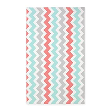 CafePress   Coral Aqua Grey Chevron Pattern 3u0027x5u0027 Area Rug   Decorative Area