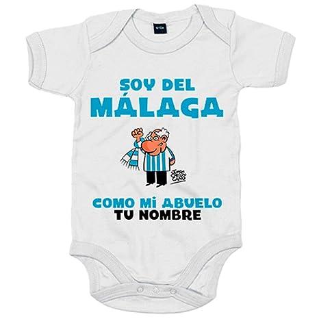 Body bebé soy del Málaga como mi abuelo personalizable con nombre - Blanco, 6-