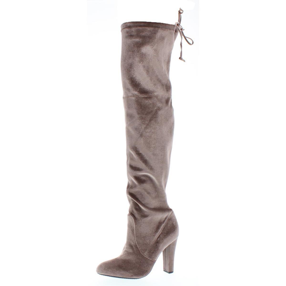 Steve Madden Womens Gorgeous Velvet Over-The-Knee Boots Taupe 9.5 Medium (B,M)