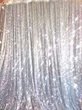 TRLYC Weddings Party Decoration Sequin Backdrop Window Curtain for Wedding Silver 10x10FT High