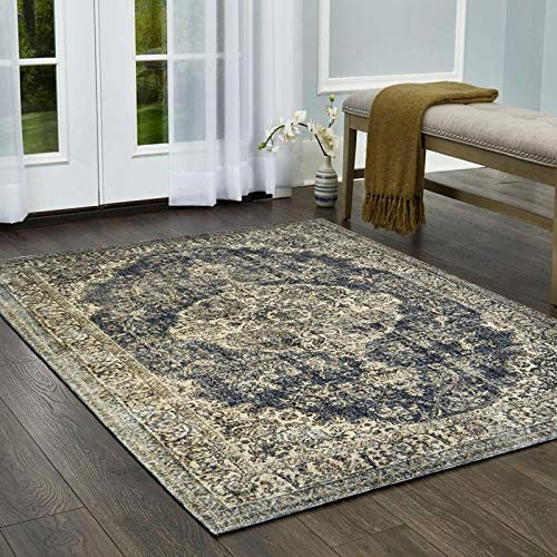 Home Dynamix Nicole Miller Belmont Mary Area Rug 9 2 x12 5 , Distressed Medallion Blue Beige