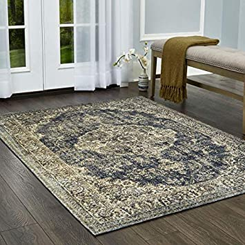 Distressed Medallion Blue//Beige 6699-309 Home Dynamix Nicole Miller Belmont Mary Area Rug 26 x39