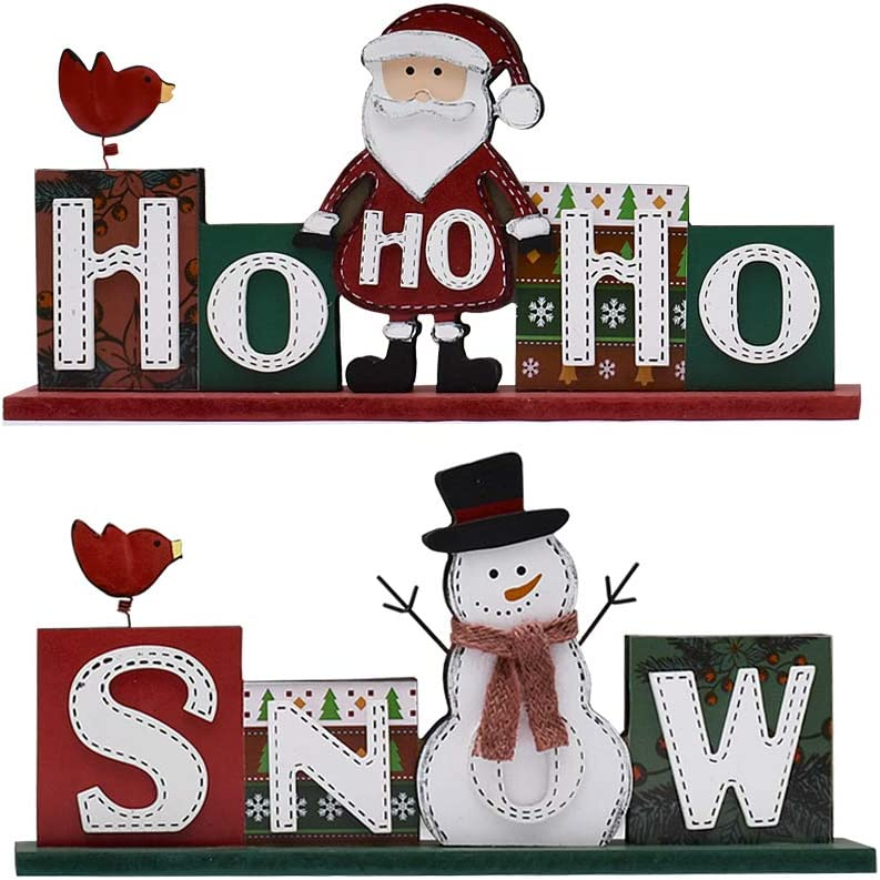 YK Decor Christmas Wood Sign HOHOHO and SNOW Sign Decorative Freestanding Wood Sign with Santa and Snowman Decor for Christmas Home Decor (HOHOHO & Snow Sign)