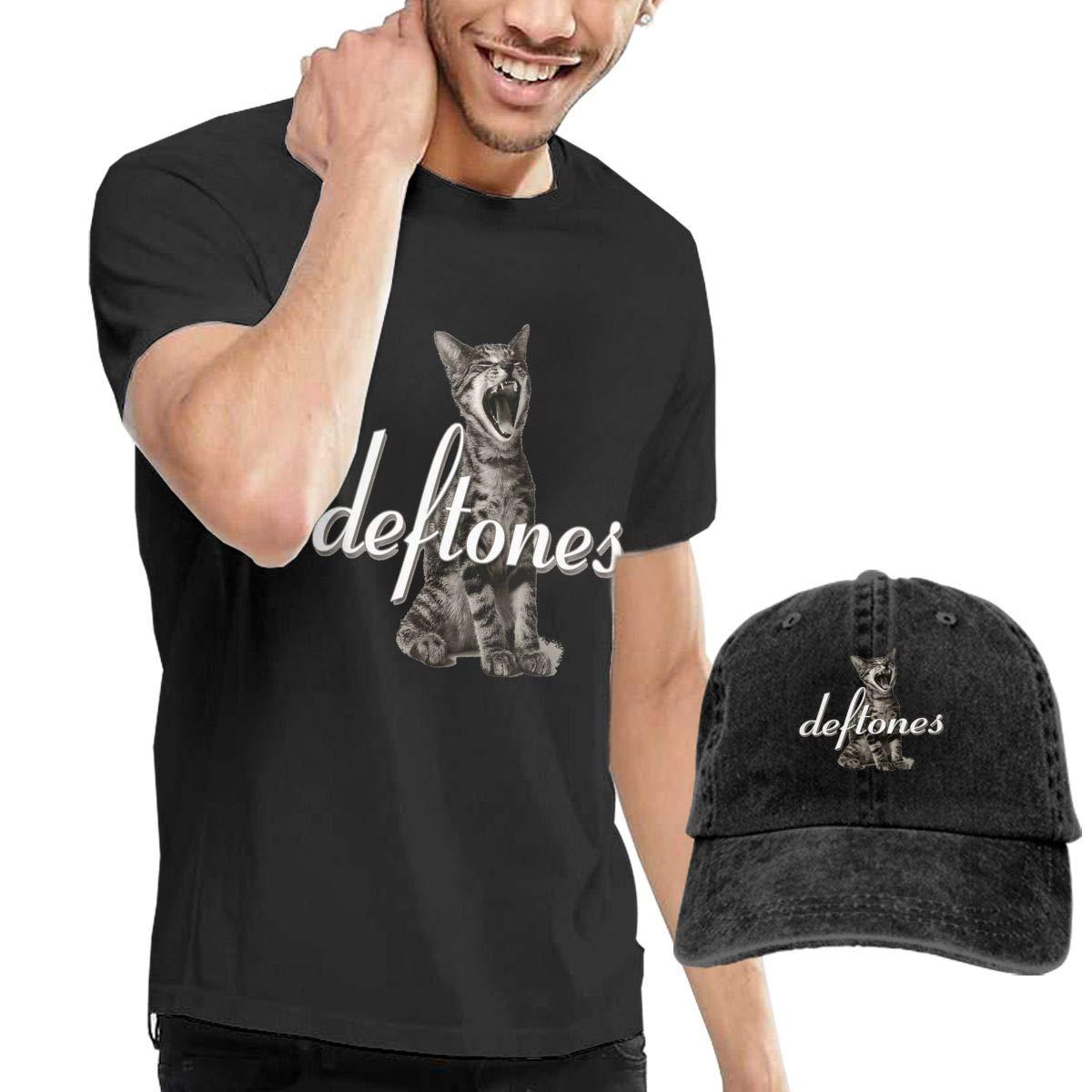 Dingtai Deftones-Like Linus Men's Short Sleeve T Shirt and Adult Washed Cowboy Hat