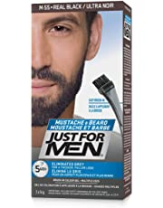 Just For Men Mustache & Beard Brush-In Color Gel, Beard Coloring for Men, Real Black (Packaging May Vary)