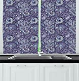 Paisley Decor Curtains Indian Inspired Floral Design with Flowers and Leaves in Detail Living Room Bedroom Window Drapes 2 Panel Set Purple Blue and White