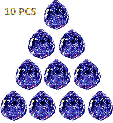 Crystal Ball Prisms Pendant Feng Shui Suncatcher Decorating Hanging Faceted Prism Balls(30mm10pcs,Blue)