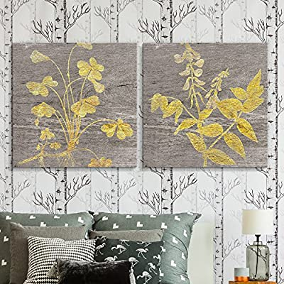 2 Panel Square Yellow Folliage Wood Effect x 2 Panels, Classic Artwork, Wonderful Expertise