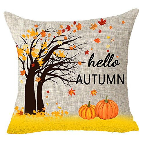 FELENIW Hello Golden Autumn Fall Leaves Family Pumpkin Harvest Home Gift Throw Pillow Cover Cushion Case Cotton Linen Material Decorative 18 x18 Square