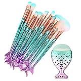 CINIDY Makeup Brushes Set 11pcs 3D Mermaid Makeup Brush Cosmetic Brushes Eyeshadow Ear candle Eyeliner Blush Brush