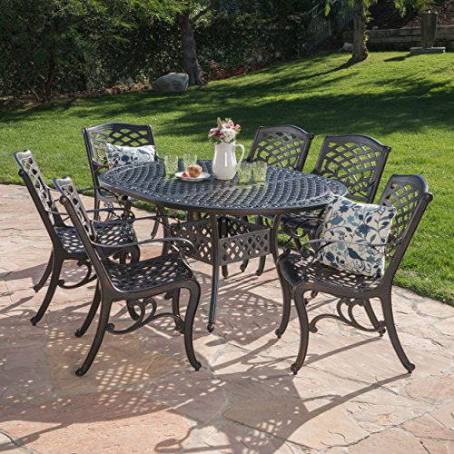 Sakura Outdoor 7 Piece Shiny Copper Finished Aluminum Dining Set with Expandable Dining Table -