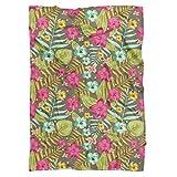 Retro Hawaii Blooms Fleece Blanket - Medium Fleece Blanket 60x50in - Soft Faux Fur Throw