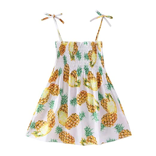 b8a3222989d15 Amazon.com: Summer Beach Dress for Baby Girls Sling Fruit Printed Pleated Casual  Dresses Sundress: Clothing