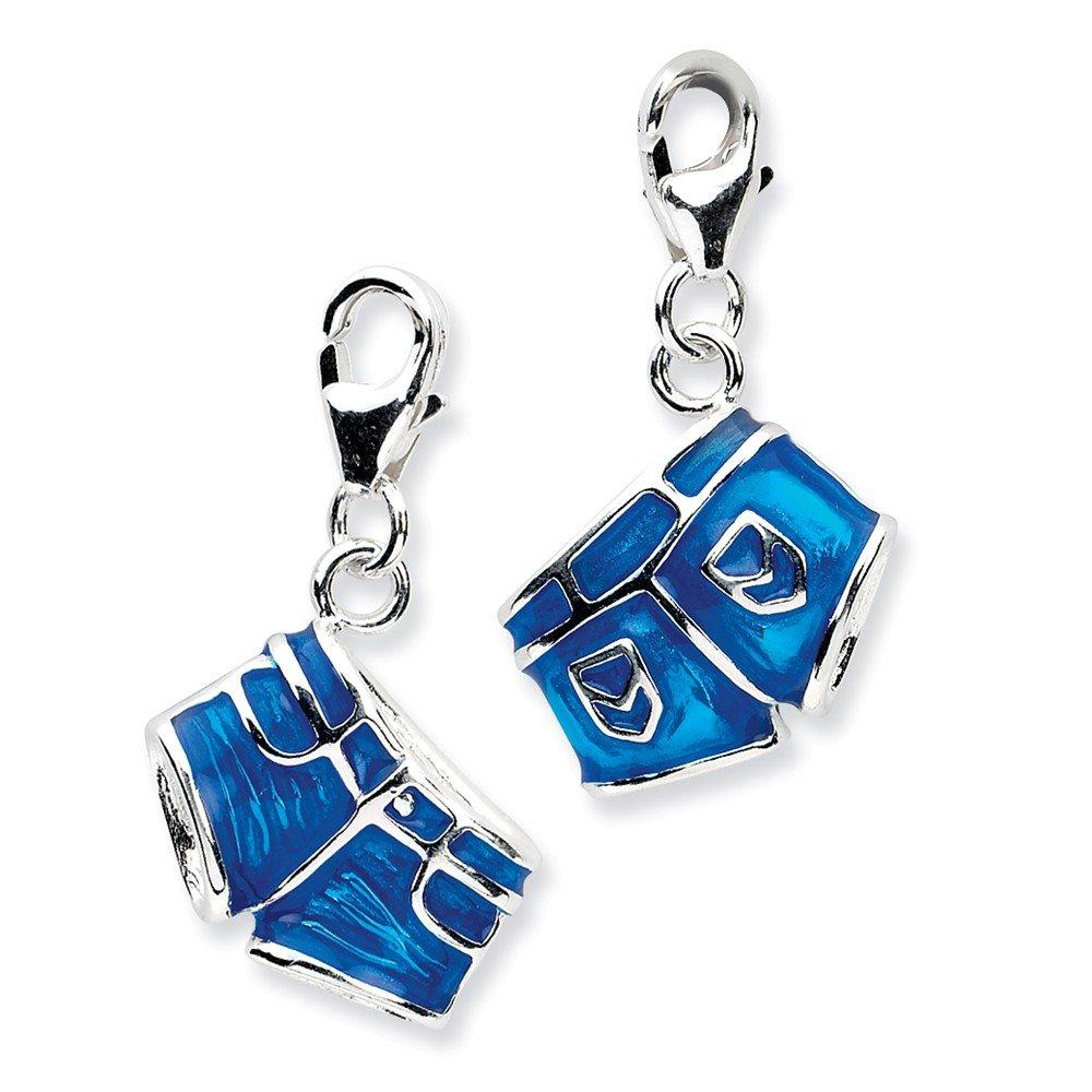 Jewelry Pilot Sterling Silver 3D Enameled Denim Jean Shorts Charm w//Lobster Clasp