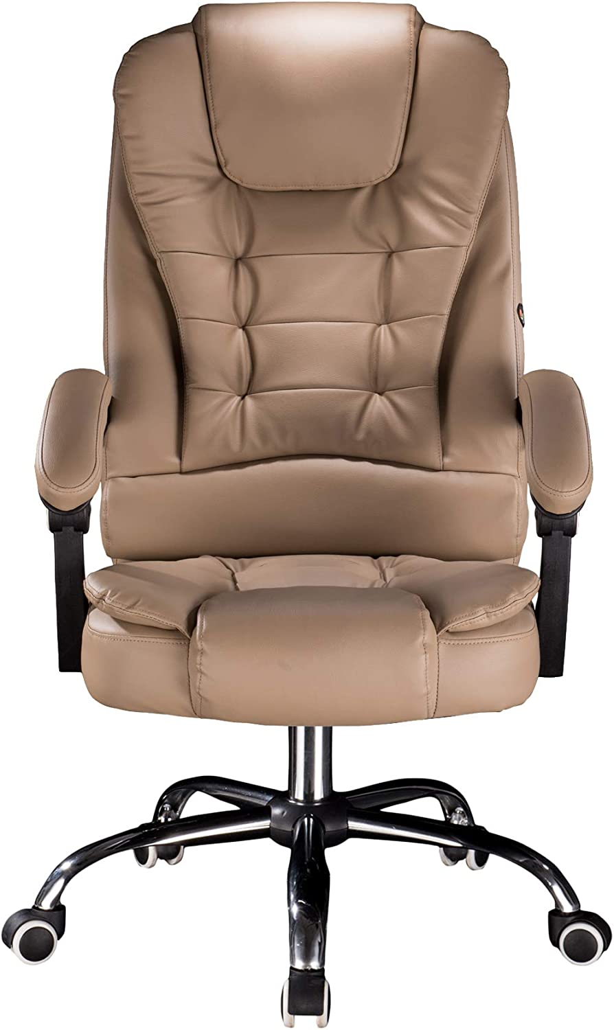 Cosyshow Comfort Genuine Leather High Back Executive Office Desk Chair Ergonomic Adjustable Recliner Computer PC Gaming Chair Footrest Armrest (Khaki)