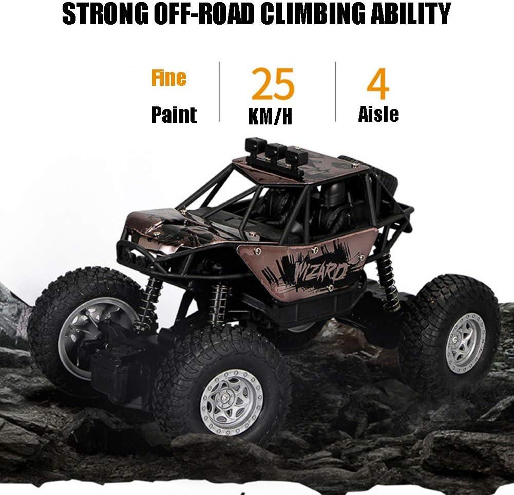 Monstre RC Crawler Télécommandée, 1:18 2.4G 22-25Km/H 2WD Voiture RC Camion À Grande Vitesse Cadeau De Noël pour Enfant Et Adulte Brown