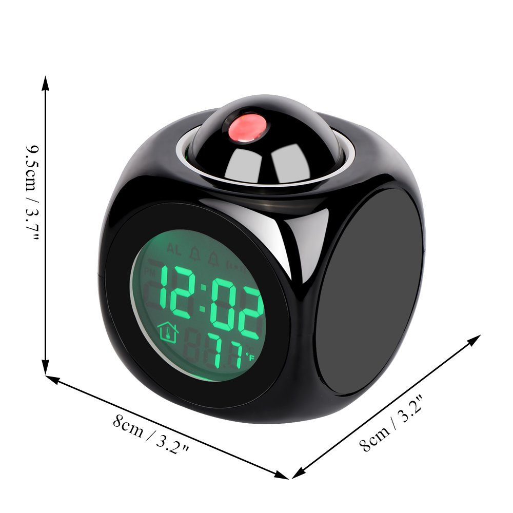 AOZBZ Digital Projection Alarm Clock LED Cube Desk Clock Electronic Travel Alarm Clock Sleep Timer LCD Display with Backlight/Hourly Chime/Snooze / Thermometer