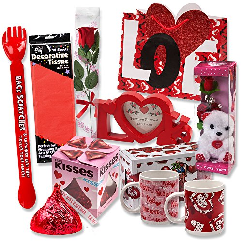 Valentine Gift Set; Complete with Gift Bag, Tissue Paper, Red Rose,