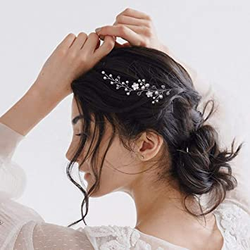 Amazon Com Catery Flower Bride Wedding Headband Pearl Hair Vine