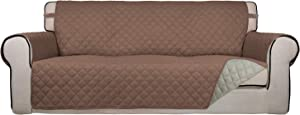 PureFit Reversible Quilted Sofa Cover, Water Resistant Slipcover Furniture Protector, Washable Couch Cover with Non Slip Foam and Elastic Straps for Kids, Pets (Oversized Sofa, Brown/Beige)