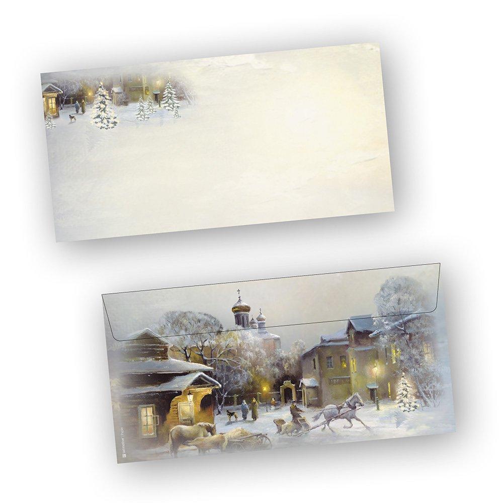 """sigel Weihnachts Umschlag /""""Winter Chalet/"""" DIN Lang 90 g//qm 25 Briefumschläge"""