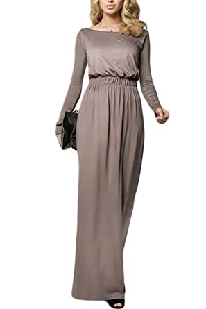 Women Evening Dresses Elegant Long Sleeve Autumn Maxi Night Prom Dress - Khaki - Small