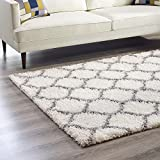 Cheap Modway R-1143C-810 Solvea Moroccan Trellis Shag Area Rug, 8′ x 10′, Ivory/Gray
