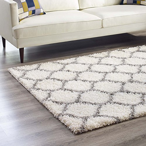 Modway Solvea Moroccan Trellis 5x8 High Pile Shag Area Rug With Lattice Design In Ivory and Navy