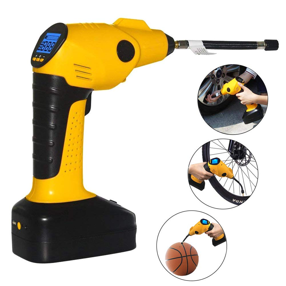 CARYWON Portable Air Compressor Pump Cordless Tire Inflator with Digital Display and LED Lights ,Built-in Power Bank Perfect for Car Bicycle Air Mattresses Airboat Airbed Basketballs by CARYWON (Image #6)