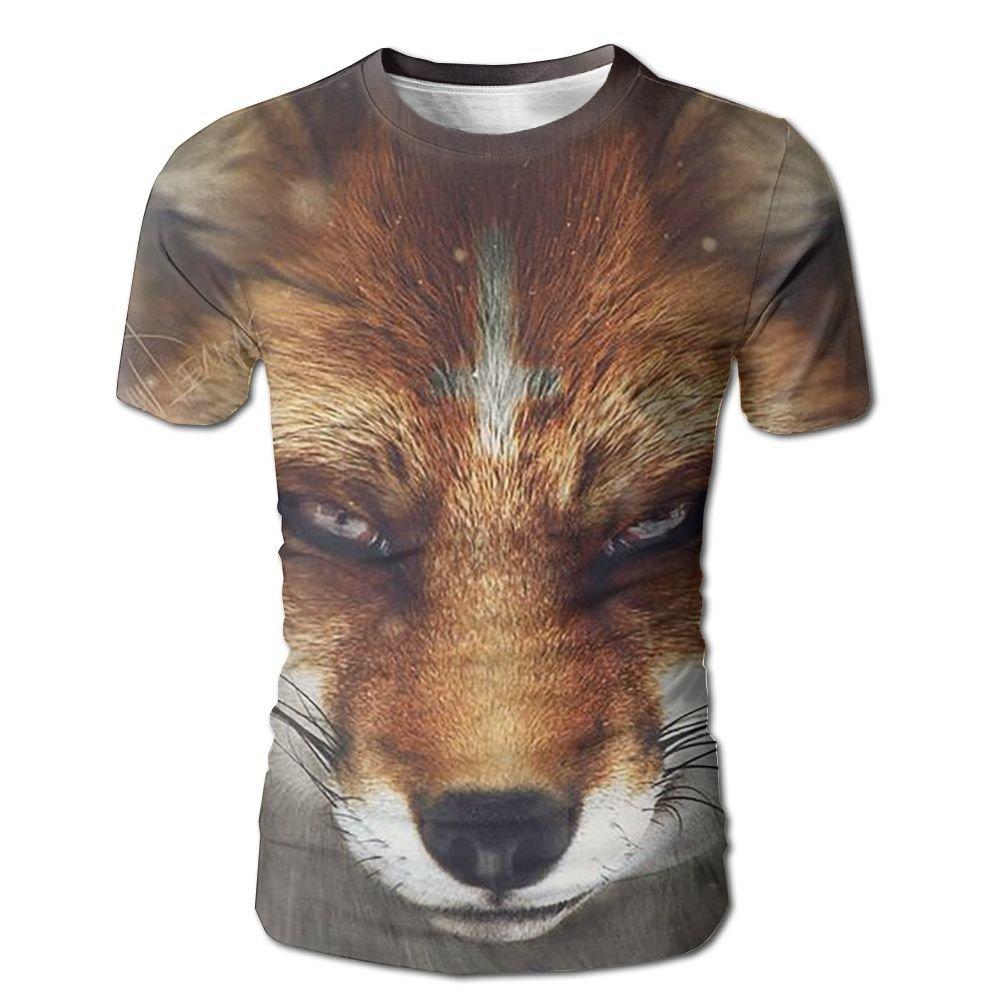 9c05efbf850513 White Men's T-shirt 3D 3D 3D Full Fox Summer Casual Short Sleeves 61263c